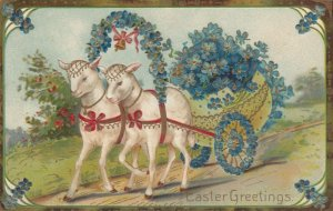 EASTER, 1900-10s; Two Sheep pulling egg wagon carrying Forget-Me-Nots, PFB 8454