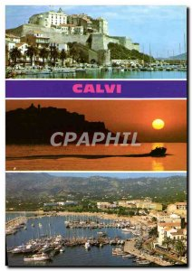Postcard Modern Calvi Citadel Sunset Port
