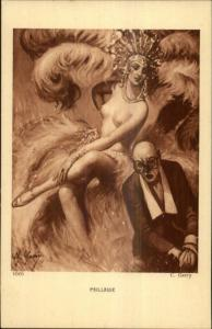 Nude Show Girl Feathers Bald Man in Glasses PAILLASSE c1915 Postcard