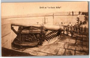 Drill at 12 Inch Rifle Vintage Postcard P01
