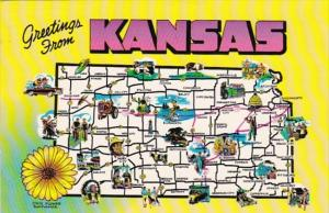 Greetings From Kansas With Map 1984