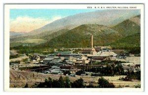 KELLOGG, ID ~ Birdseye B.H. & S. SMELTER Mining Shoshone County c1930s Postcard