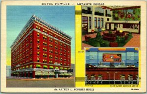 Lafayette, Indiana Postcard HOTEL FOWLER 3 Views w/ Blue Blazer Bar - Linen