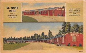 St. Mary's Motel, on Border of Florida and Georgia Postcard