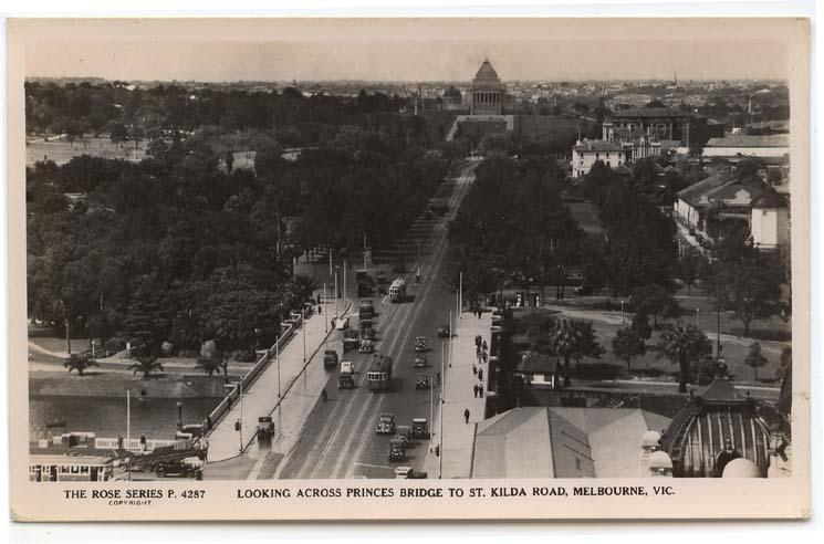 RPPC,  Melbourne, Vic., Aust.,  View of St. Kilda Road