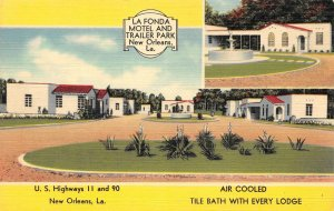 LA FONDA MOTEL & TRAILER PARK New Orleans, LA Roadside Vintage Postcard ca 1940s