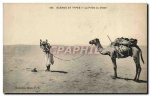 Old Postcard Scenes And Types Prayer Desert Camel
