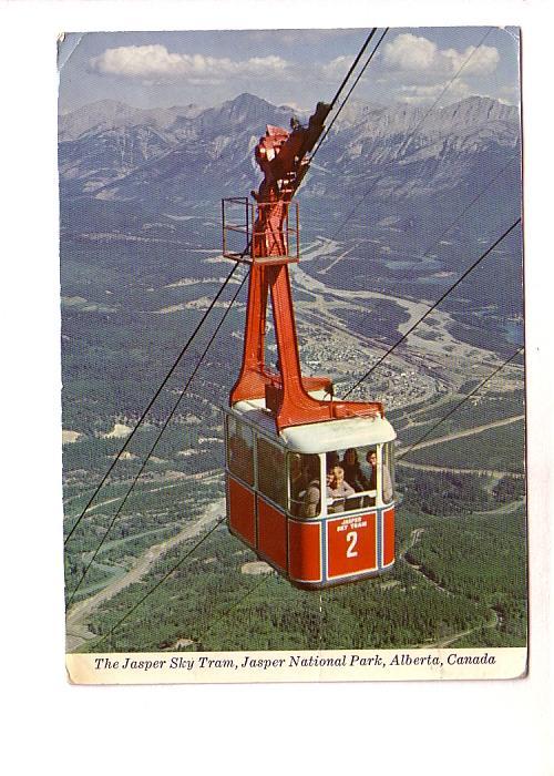 People in Sky Tram, Cable Car, Town Below, Jasper National Park,  Alberta, Ro...
