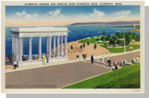 Nice Plymouth, Mass/MA Postcard, Harbor/Portico, Near Mint!