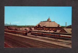 CO Pueblo Union Station Depot Colorado Railroad Train Engines Postcard