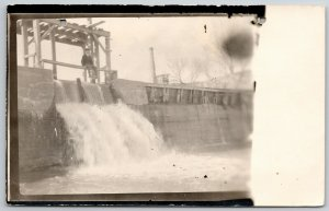 RPPC Man Sits on Scaffolding Beam Over Top Newly Constructed Dam~c1910 Postcard