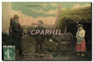 Old Postcard Fantaisie cruel separation Donkey Folklore Peasants TOILEE map