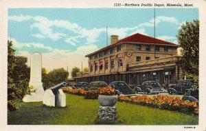 Northern Pacific Railroad Depot, Missoula, Montana, Early Postcard, Unused