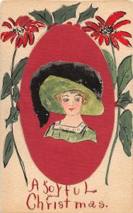 F93/ Hand-Made Postcard? Joyful Christmas Woman Painted Cut-Out 5