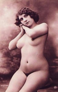 Handmade Risque Nude French Lady Picture Postcard - HR-15