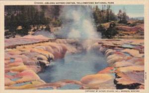 Oblong Geyser Crater Yellowstone National Park Curteich