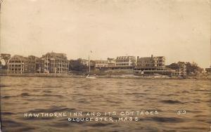 Gloucester MA Hawthorne Inn & Cottages Shorefront Real Photo Postcard