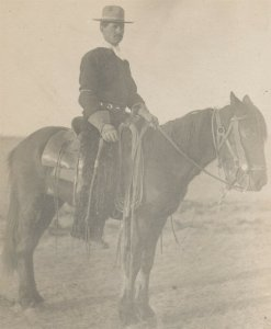 c1910 RPPC US Mounted Cavalry Soldier Wooly Chaps Crop Lariat Photo Postcard