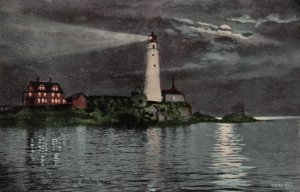 BOSTON, Massachusetts, 1900-10s; Boston Lighthouse at Night