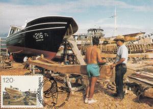 Portugal Portuguese Santo Amaro Boat Carpenter First Day Cover Postcard