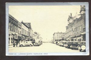 NAPONEON OHIO DOWNTOWN PERRY STREET SCENE OLD CARS VINTAGE POSTCARD