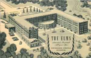 Excelsior Springs Missouri~The Elms~1947 Artist Drawn Postcard