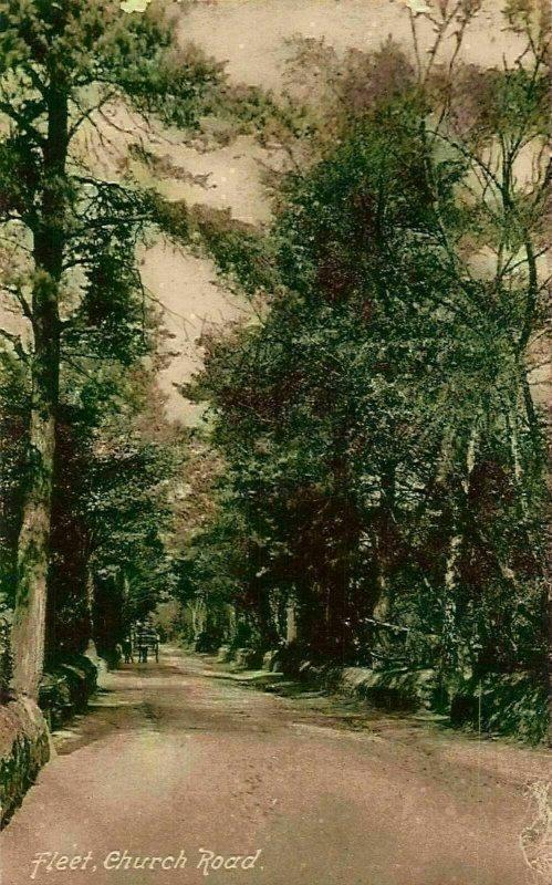 Fleet Church Road Trees Carriage Postcard