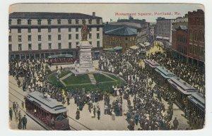 P2029 old postcard  trollies many people etc monument sq portland maine unused