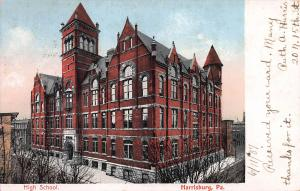 High School, Harrisburg, Pennsylvania, Early Postcard, Used in 1907