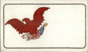 Eagle & American Flag - Silk Embroidered Patriotic c1910 Postcard