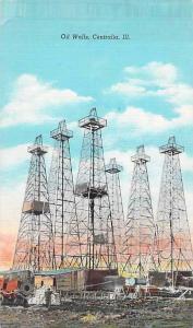 Oil Wells Centralia, Ill, Unused Vintage Postcard