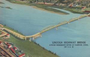 LINCOLN HIGHWAY bridge , Mississippi River , CLINTON , Iowa , 1930-40s