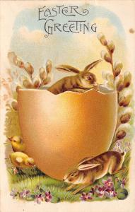 Easter Fantasy~Brown Rabbits~Yellow Egg Shell~Pussy Willows~Emboss~Germany~ASB