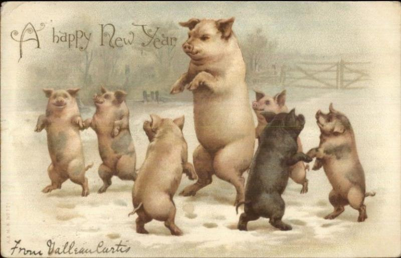 New Year Pig Fantasy Dancing A&MS #171 c1905 Postcard