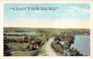 Brooklyn Michigan~Irish Hills~View West from Gray Tower~Kelly Knoll~1920s Pc