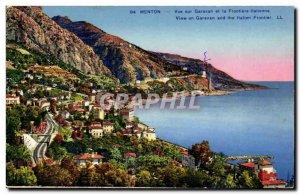 Menton Old Postcard View Garaan and the Italian border