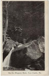 1907-15 New Castle PA On The Slippery Rock Graffiti Carvings Antique DB Postcard