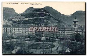 Old Postcard Grenoble Place Victor Hugo and strong