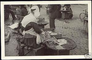 Scandinavian Fish Market Woman Seller Costumes 30s RPPC