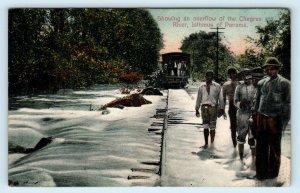 PANAMA ~ RAILROAD TRAIN Fording Flooded CHAGRES RIVER c1910s Postcard