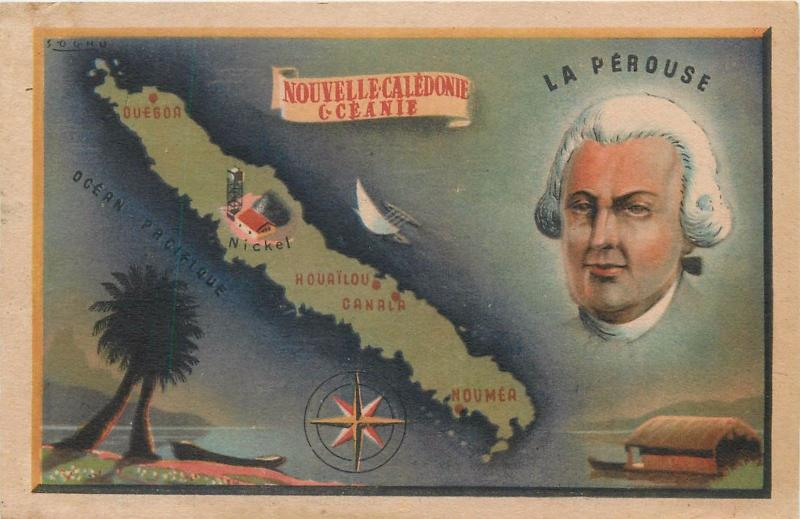 New Caledonia Nouvelle Caledonie La Perouse map Pacific Islands Oceanie Oceania