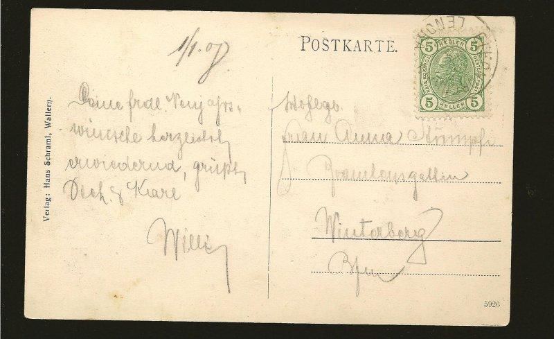 Austria Postmark 190? Wallern im Bohmerwald Bonhofstrasse Postcard