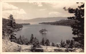 E67/ Lake Tahoe California Postcard Real Photo RPPC c30s Emerald Bay Island 1