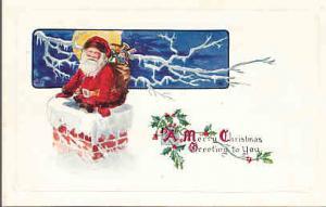 Christmas - Santa in Chimney - Unused Card