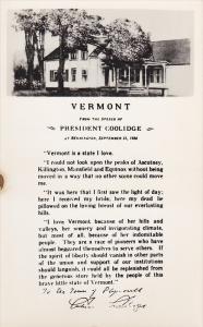 RP, From The Speech Of President Coolidge, BENNINGTON, Vermont, 1928