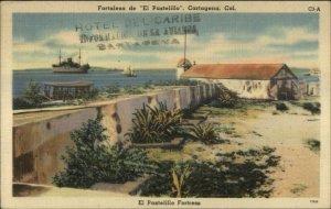 Cartagena Colombia Fortaleza El Pastelillo Used Linen psotcard