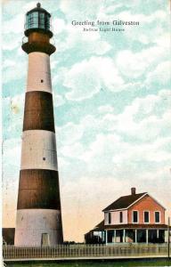 c1907 Chromograph Postcard; Greeting from Galveston TX Bolivar Light House