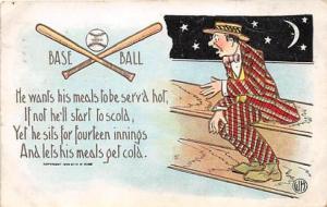 Publisher H M Rose, Baseball, Base Ball Comic Old Vintage Antique Postcard P...