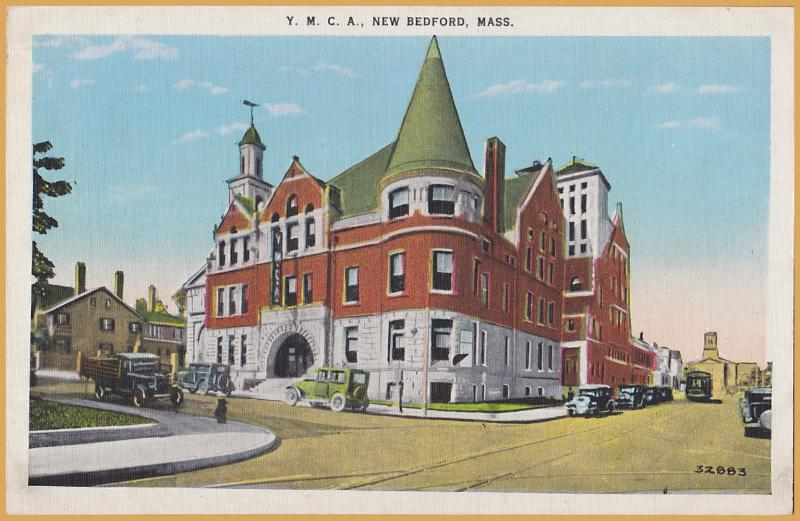 New Bedford, Mass., Y.M.C.A. building with vintage cars & trolley tracks