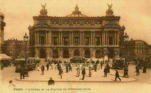 France Paris L'Opera et La Station du Metropolitain Postcard